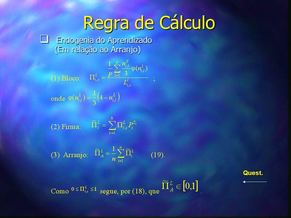 Regra de Cálculo Endogenia do Aprendizado Endogenia do Aprendizado (Em relação ao Arranjo) (Em relação ao Arranjo) Quest.