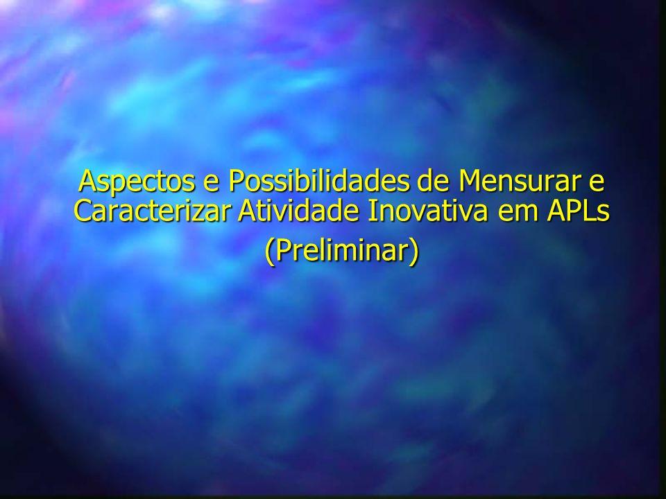 Aspectos e Possibilidades de Mensurar e Caracterizar Atividade Inovativa em APLs (Preliminar)