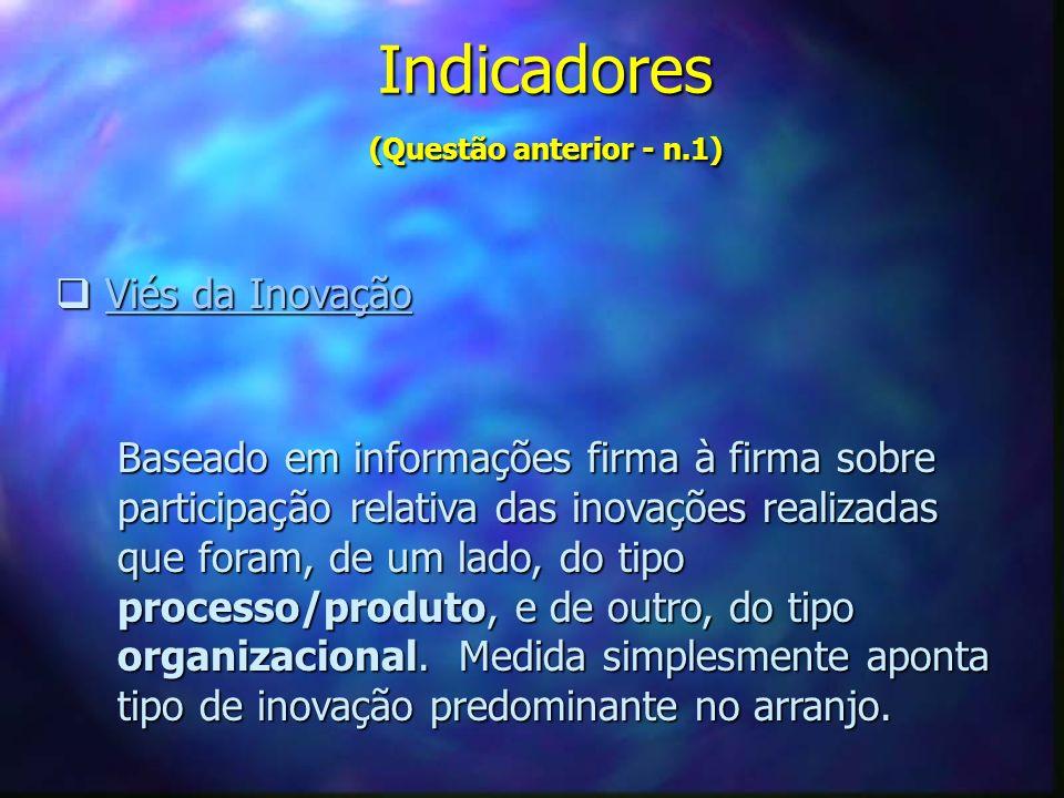 Indicadores (Questão anterior - n.1) Viés da Inovação Viés da InovaçãoViés da InovaçãoViés da Inovação Baseado em informações firma à firma sobre part