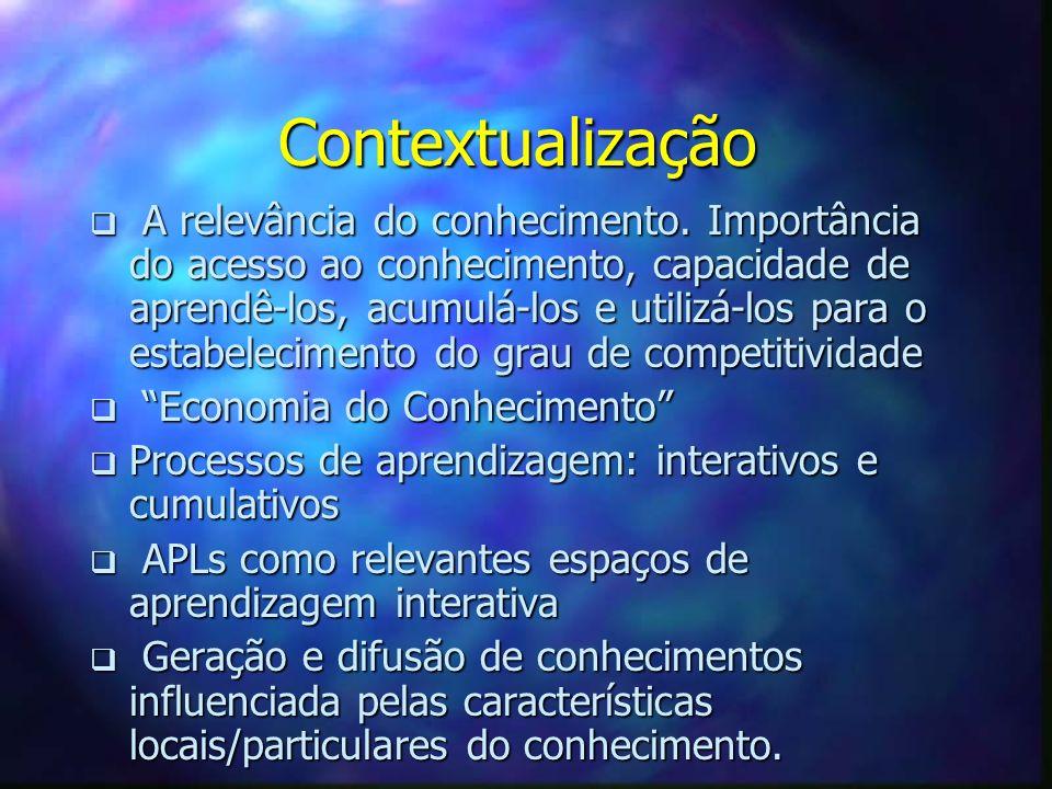 Contextualização A relevância do conhecimento. Importância do acesso ao conhecimento, capacidade de aprendê-los, acumulá-los e utilizá-los para o esta