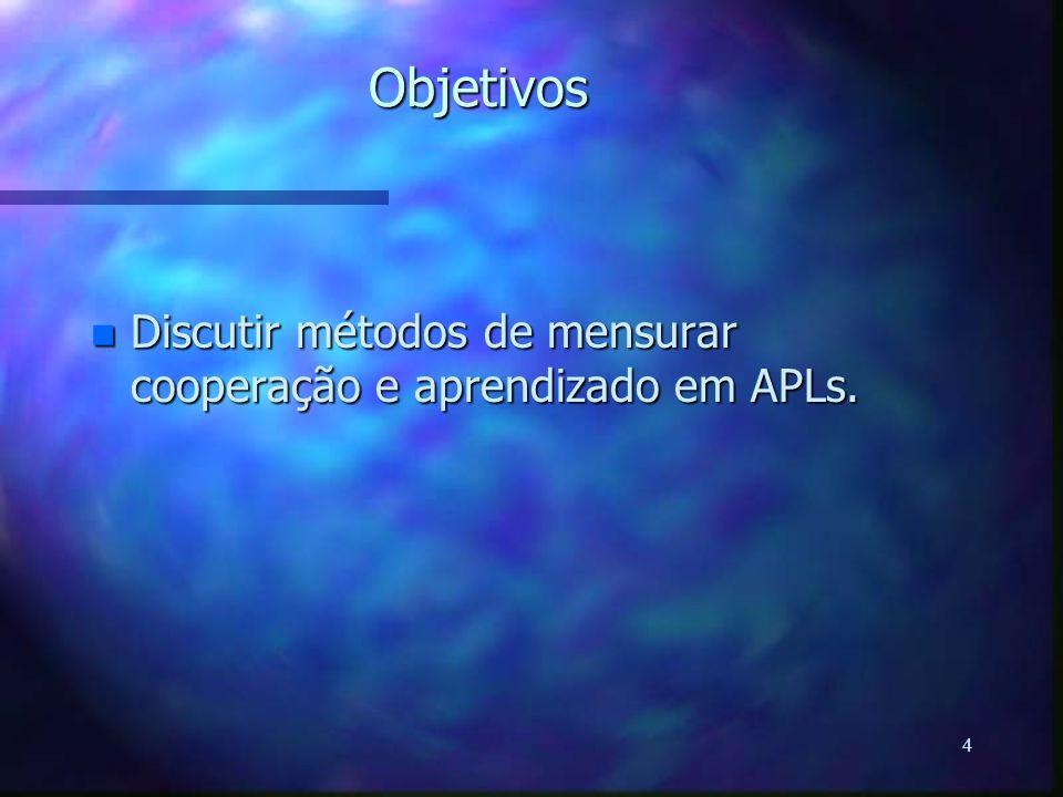 4 Objetivos n Discutir métodos de mensurar cooperação e aprendizado em APLs.