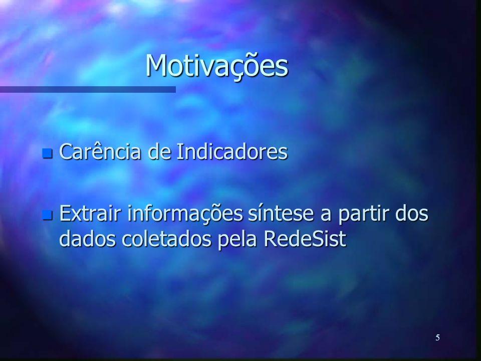 5 Motivações n Carência de Indicadores n Extrair informações síntese a partir dos dados coletados pela RedeSist