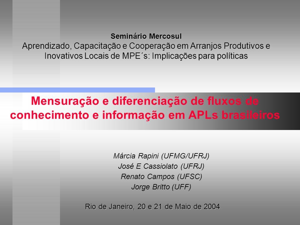 Mensuração e diferenciação de fluxos de conhecimento e informação em APLs brasileiros Rio de Janeiro, 20 e 21 de Maio de 2004 Márcia Rapini (UFMG/UFRJ