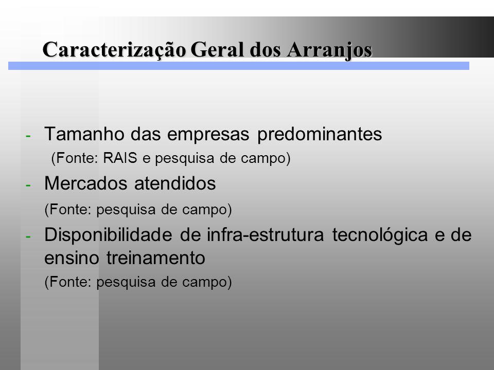 Caracterização Geral dos Arranjos - Tamanho das empresas predominantes (Fonte: RAIS e pesquisa de campo) - Mercados atendidos (Fonte: pesquisa de camp