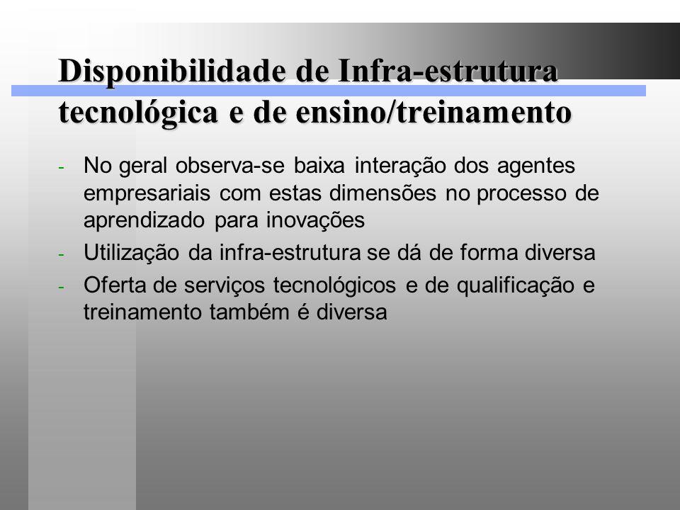 Disponibilidade de Infra-estrutura tecnológica e de ensino/treinamento - No geral observa-se baixa interação dos agentes empresariais com estas dimens
