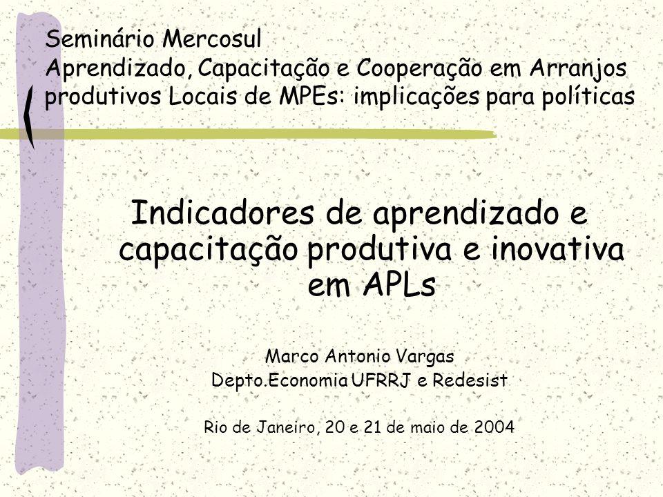 Seminário Mercosul Aprendizado, Capacitação e Cooperação em Arranjos produtivos Locais de MPEs: implicações para políticas Indicadores de aprendizado