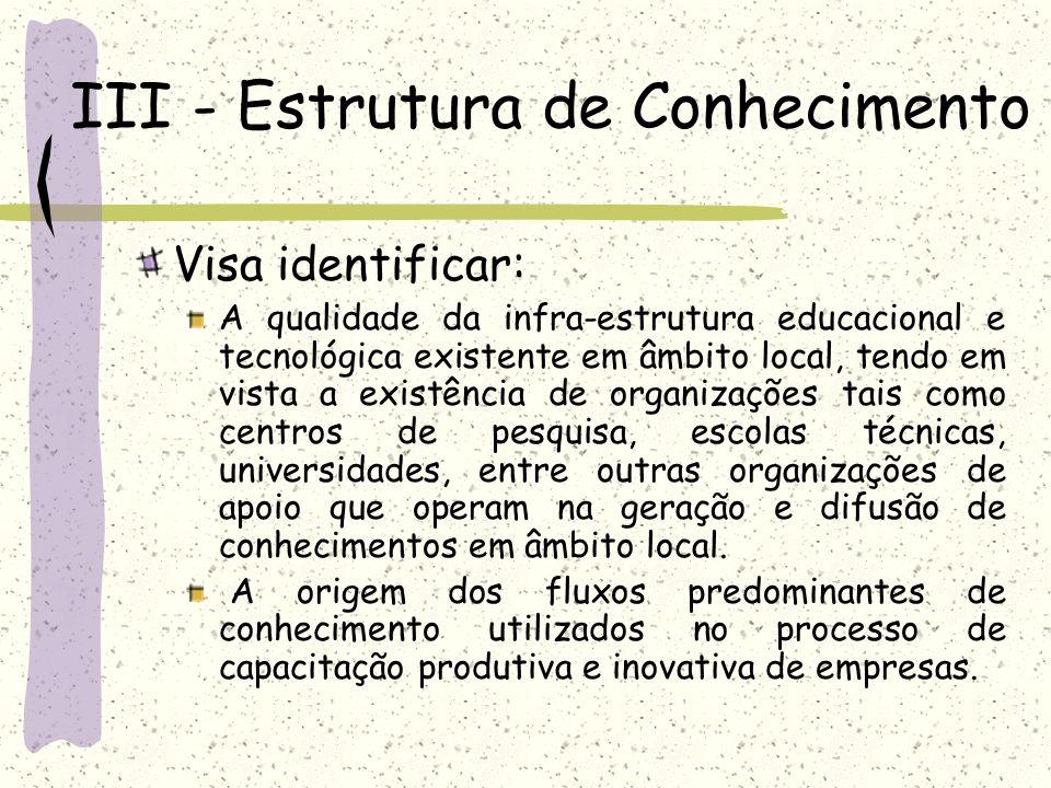 III - Estrutura de Conhecimento Visa identificar: A qualidade da infra-estrutura educacional e tecnológica existente em âmbito local, tendo em vista a