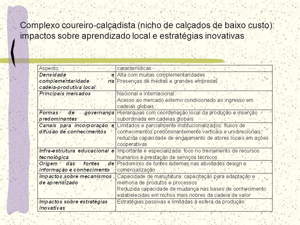 Complexo coureiro-calçadista (nicho de calçados de baixo custo): impactos sobre aprendizado local e estratégias inovativas