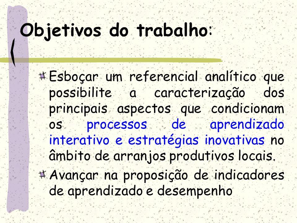 Objetivos do trabalho: Esboçar um referencial analítico que possibilite a caracterização dos principais aspectos que condicionam os processos de apren