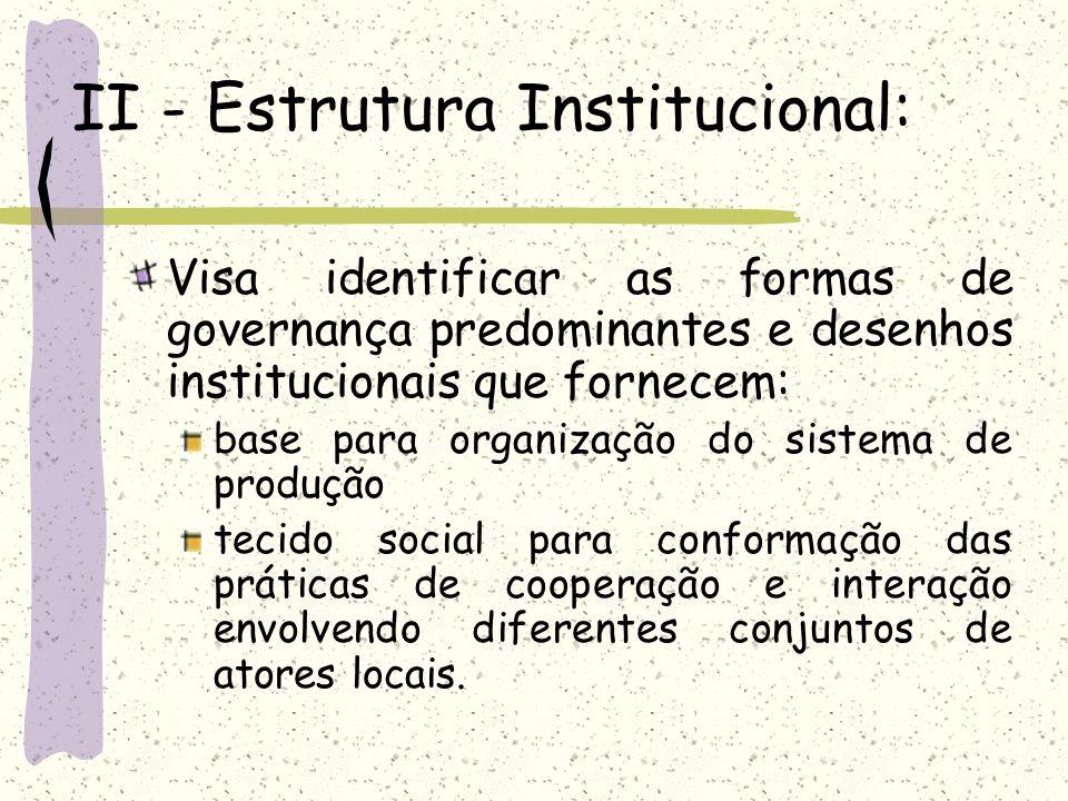 II - Estrutura Institucional: Visa identificar as formas de governança predominantes e desenhos institucionais que fornecem: base para organização do