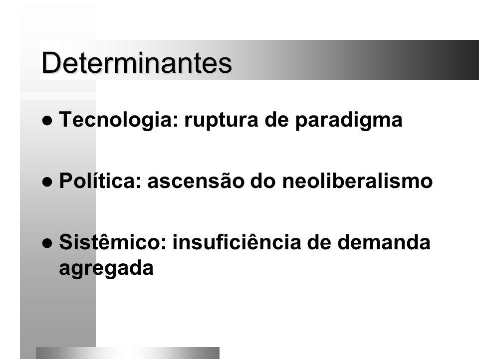 Determinantes Tecnologia: ruptura de paradigma Política: ascensão do neoliberalismo Sistêmico: insuficiência de demanda agregada