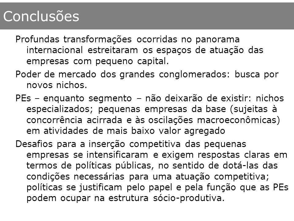 Conclusões Profundas transformações ocorridas no panorama internacional estreitaram os espaços de atuação das empresas com pequeno capital. Poder de m