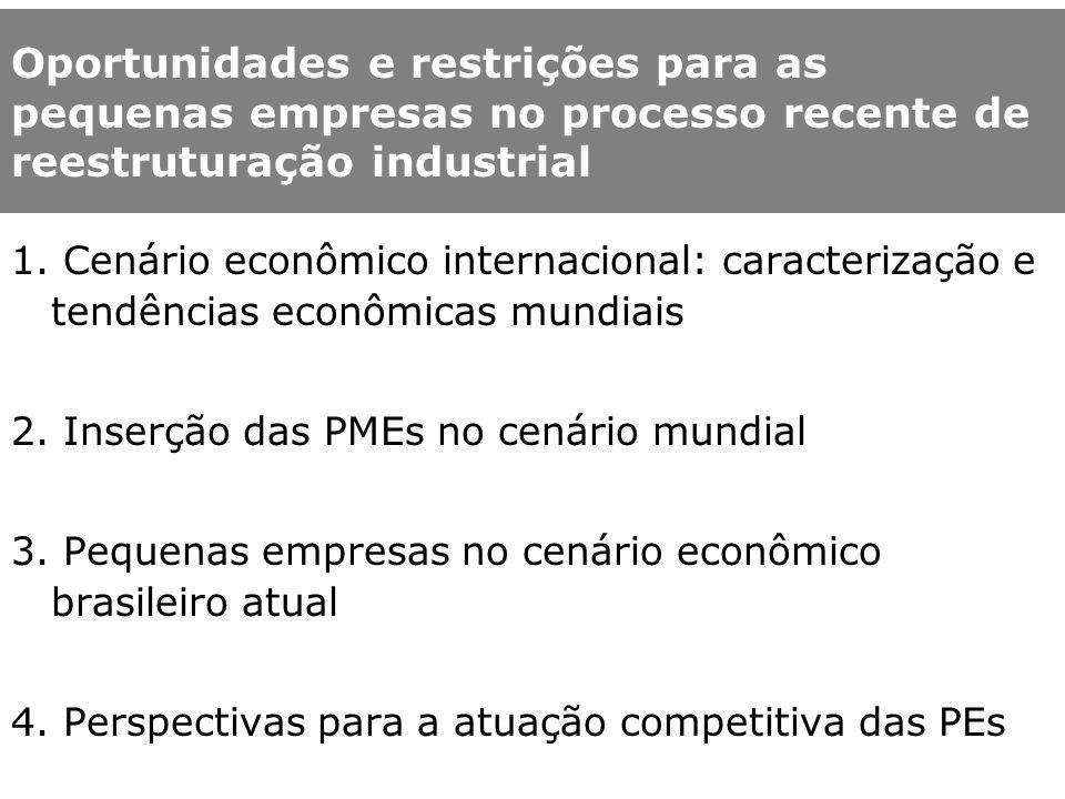 Principais aspectos do debate sobre as PMEs em nível internacional OCDE: 95% das empresas e mais de 60% dos postos de trabalho.