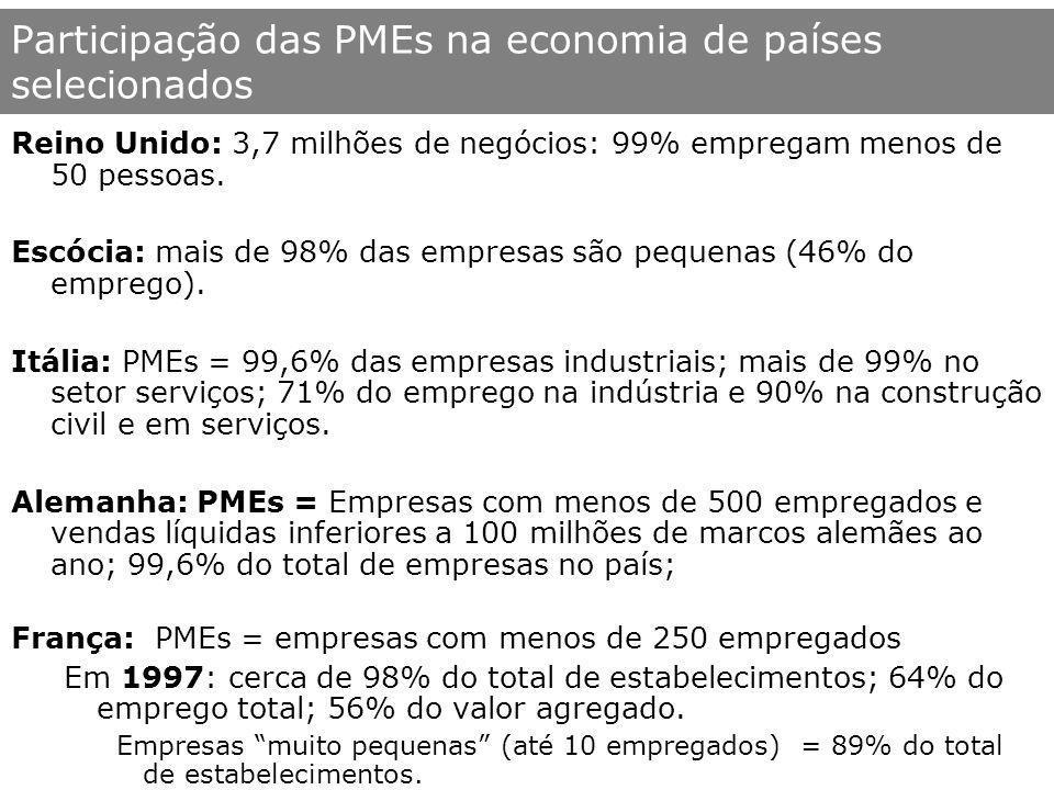 Participação das PMEs na economia de países selecionados Dinamarca: PMEs = 70% do total de empregos e 99,99% dos estabelecimentos em 1996.