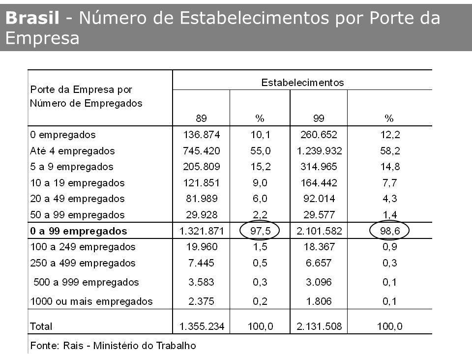 Brasil - Número de Empregados por Porte da Empresa