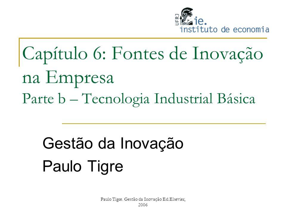 Paulo Tigre. Gestão da Inovação Ed.Elsevier, 2006 Capítulo 6: Fontes de Inovação na Empresa Parte b – Tecnologia Industrial Básica Gestão da Inovação