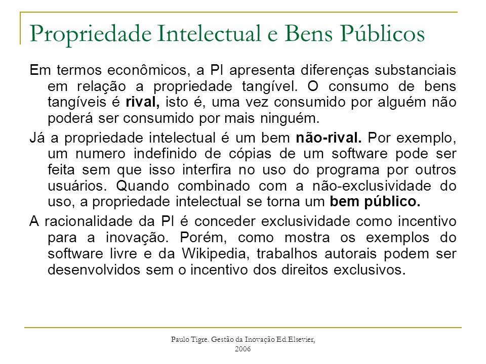 Paulo Tigre. Gestão da Inovação Ed.Elsevier, 2006 Propriedade Intelectual e Bens Públicos Em termos econômicos, a PI apresenta diferenças substanciais