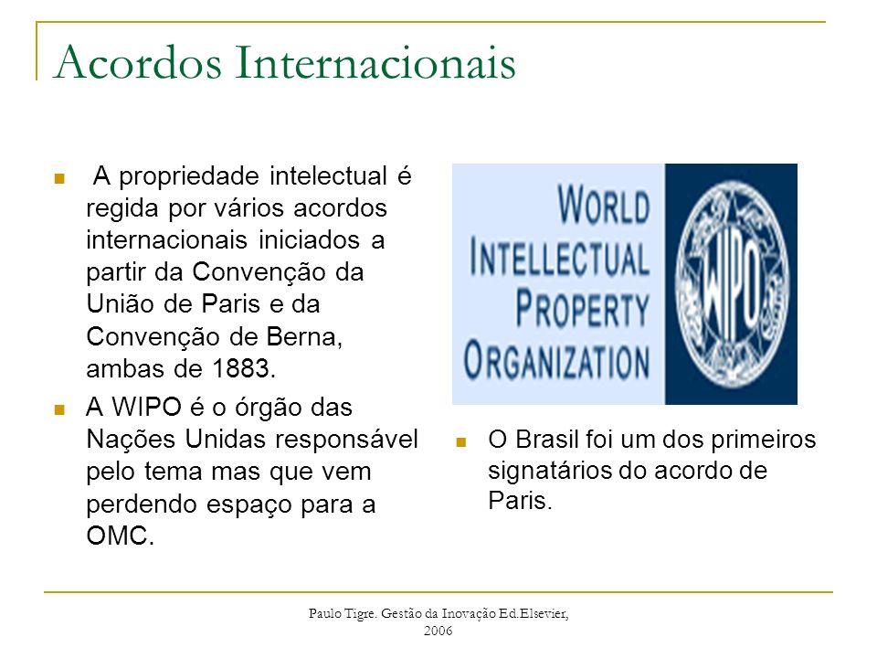 Paulo Tigre. Gestão da Inovação Ed.Elsevier, 2006 Acordos Internacionais A propriedade intelectual é regida por vários acordos internacionais iniciado