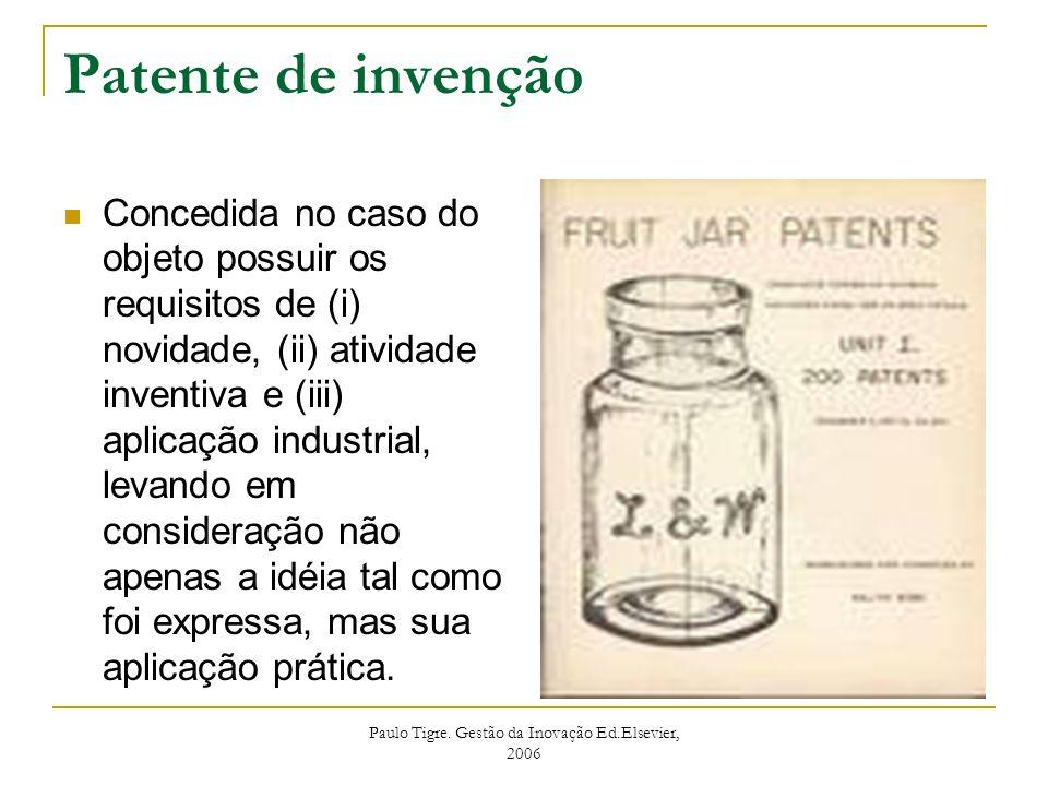 Paulo Tigre. Gestão da Inovação Ed.Elsevier, 2006 Patente de invenção Concedida no caso do objeto possuir os requisitos de (i) novidade, (ii) atividad