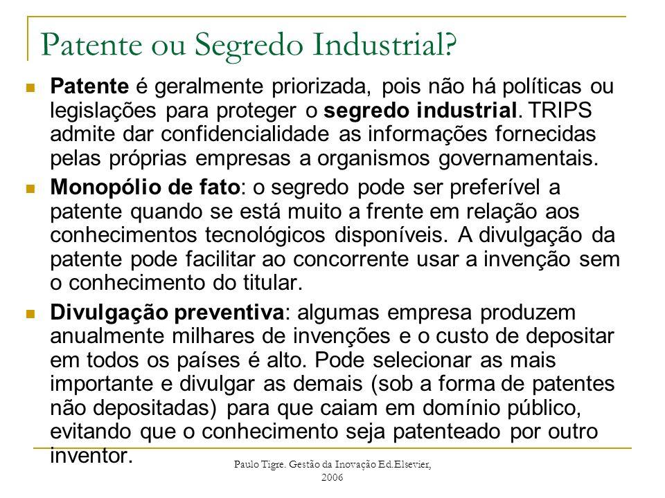 Paulo Tigre. Gestão da Inovação Ed.Elsevier, 2006 Patente ou Segredo Industrial? Patente é geralmente priorizada, pois não há políticas ou legislações