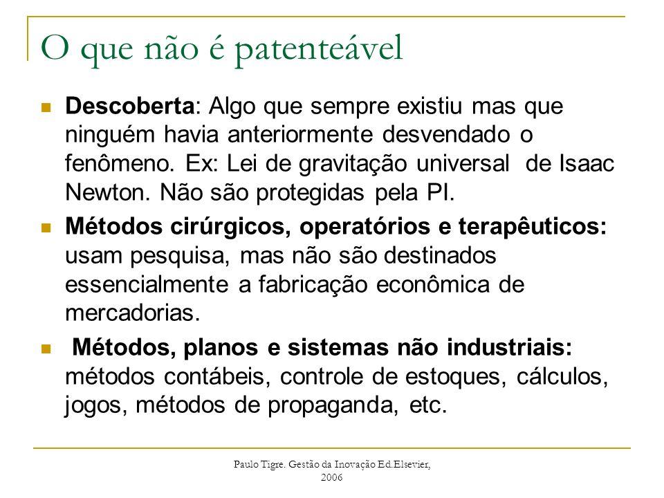Paulo Tigre. Gestão da Inovação Ed.Elsevier, 2006 O que não é patenteável Descoberta: Algo que sempre existiu mas que ninguém havia anteriormente desv