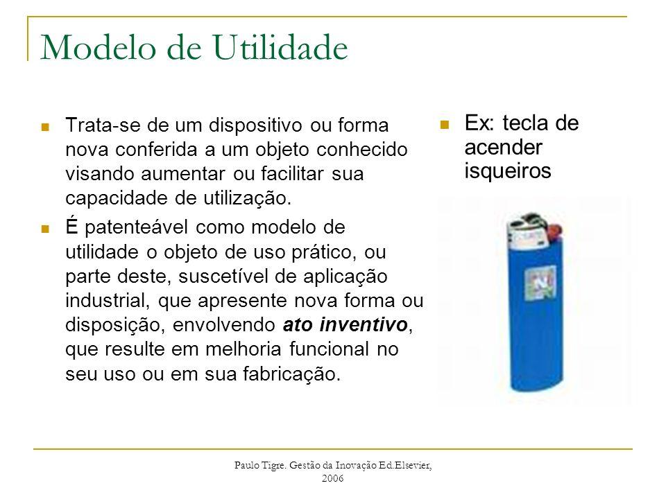 Paulo Tigre. Gestão da Inovação Ed.Elsevier, 2006 Modelo de Utilidade Trata-se de um dispositivo ou forma nova conferida a um objeto conhecido visando