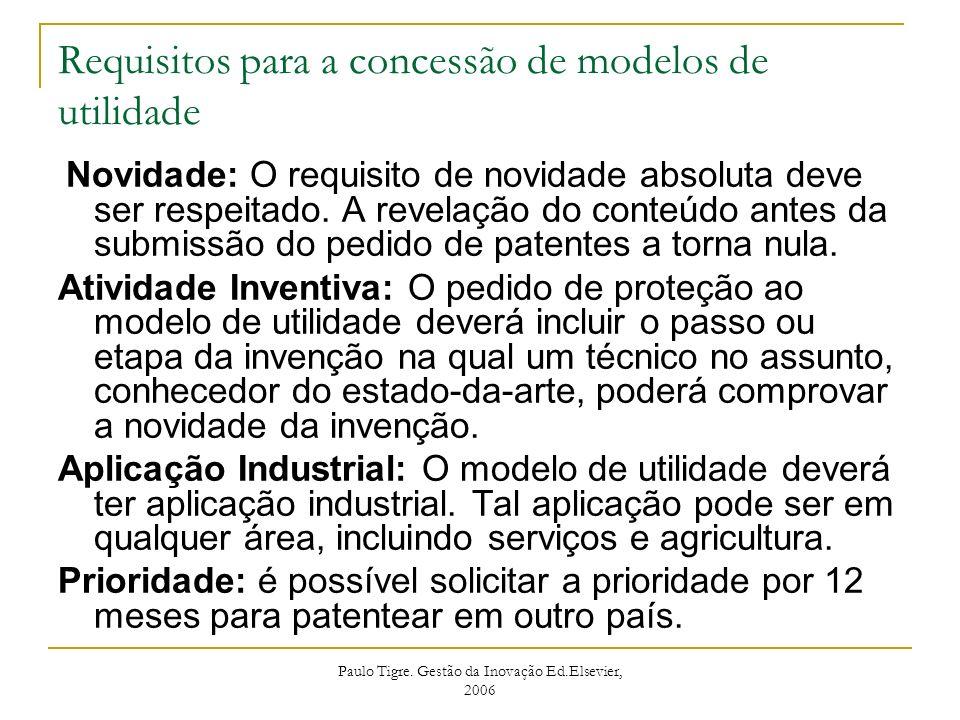 Paulo Tigre. Gestão da Inovação Ed.Elsevier, 2006 Requisitos para a concessão de modelos de utilidade Novidade: O requisito de novidade absoluta deve