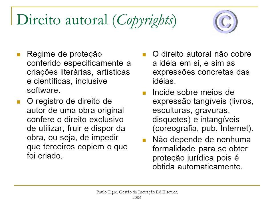Paulo Tigre. Gestão da Inovação Ed.Elsevier, 2006 Direito autoral (Copyrights) Regime de proteção conferido especificamente a criações literárias, art