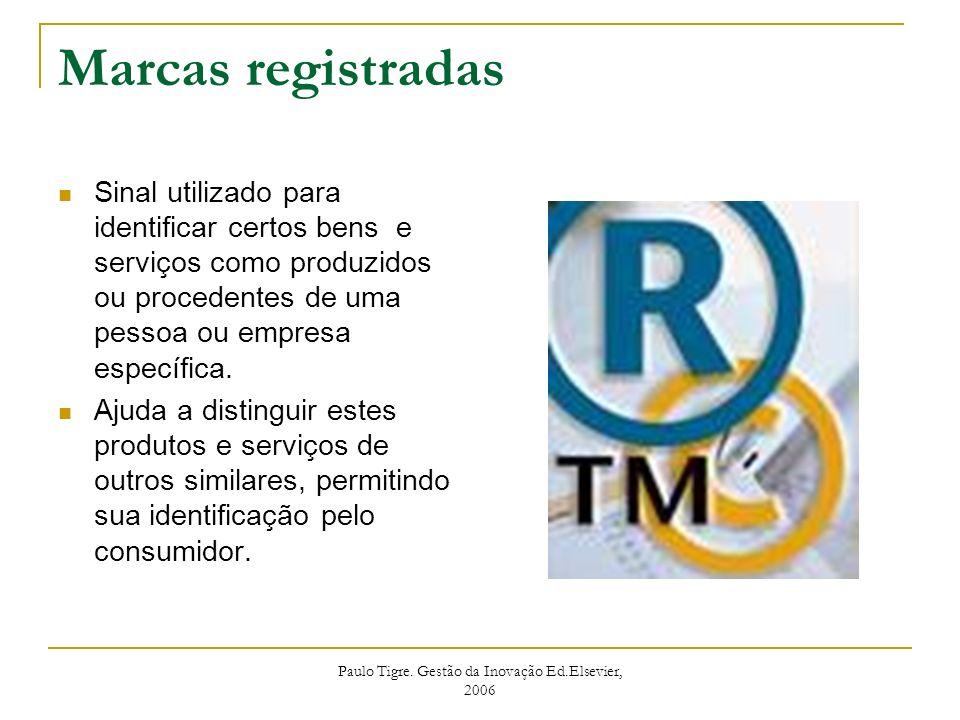 Paulo Tigre. Gestão da Inovação Ed.Elsevier, 2006 Marcas registradas Sinal utilizado para identificar certos bens e serviços como produzidos ou proced