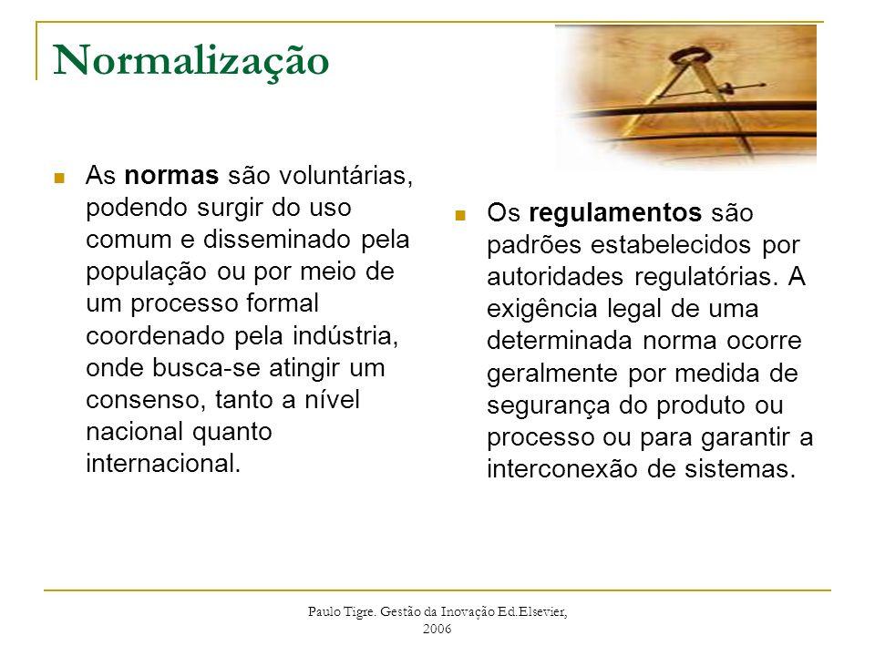 Paulo Tigre. Gestão da Inovação Ed.Elsevier, 2006 Normalização As normas são voluntárias, podendo surgir do uso comum e disseminado pela população ou