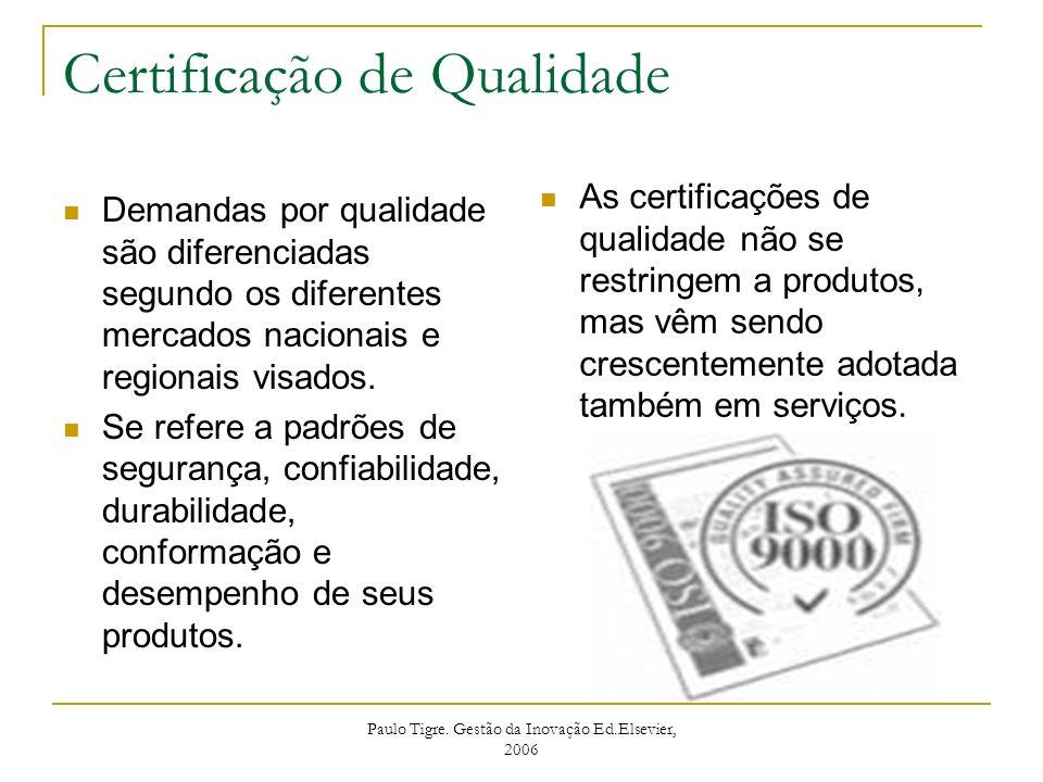 Paulo Tigre. Gestão da Inovação Ed.Elsevier, 2006 Certificação de Qualidade Demandas por qualidade são diferenciadas segundo os diferentes mercados na