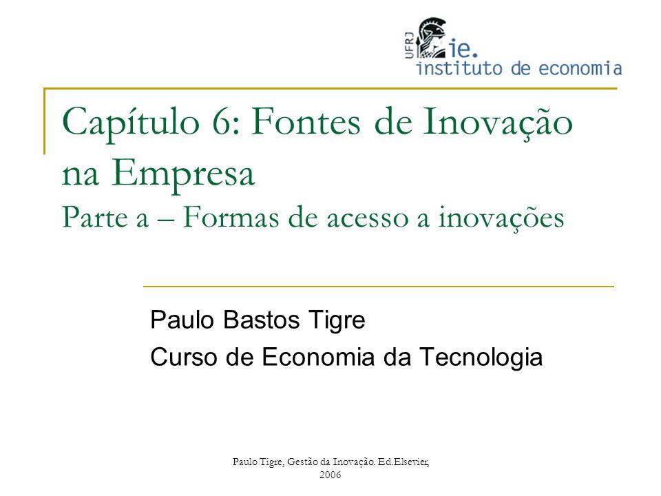 Capítulo 6: Fontes de Inovação na Empresa Parte a – Formas de acesso a inovações Paulo Bastos Tigre Curso de Economia da Tecnologia Paulo Tigre, Gestã