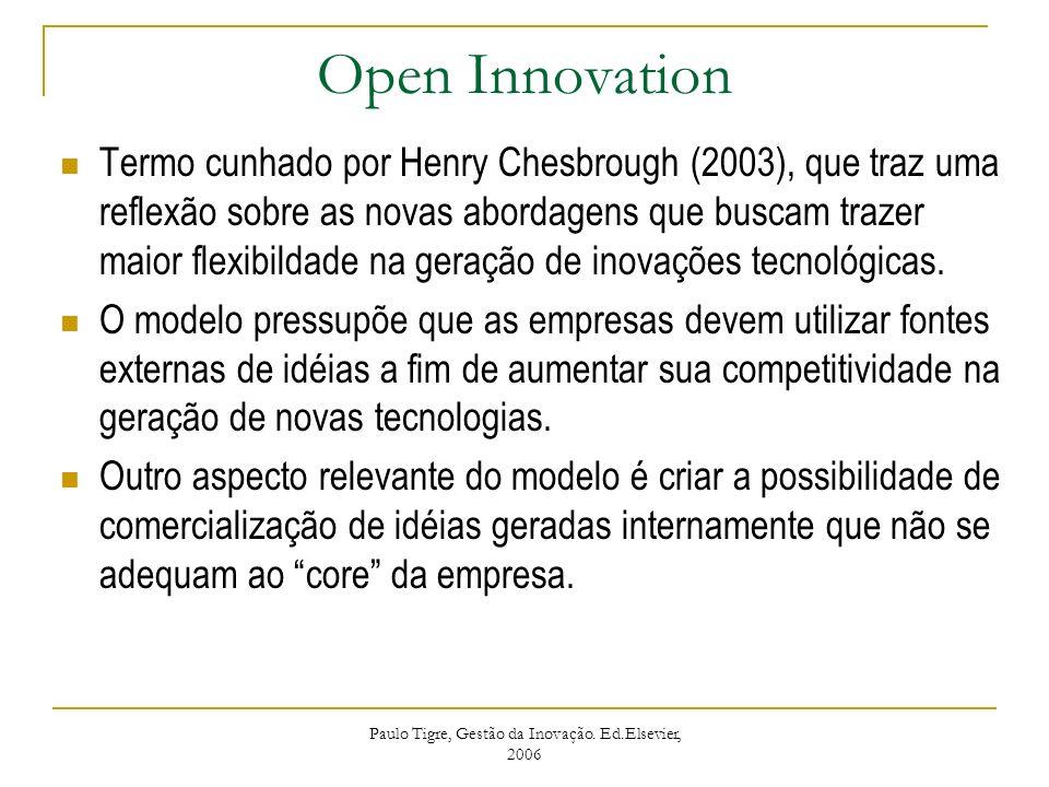 Open Innovation Termo cunhado por Henry Chesbrough (2003), que traz uma reflexão sobre as novas abordagens que buscam trazer maior flexibildade na ger