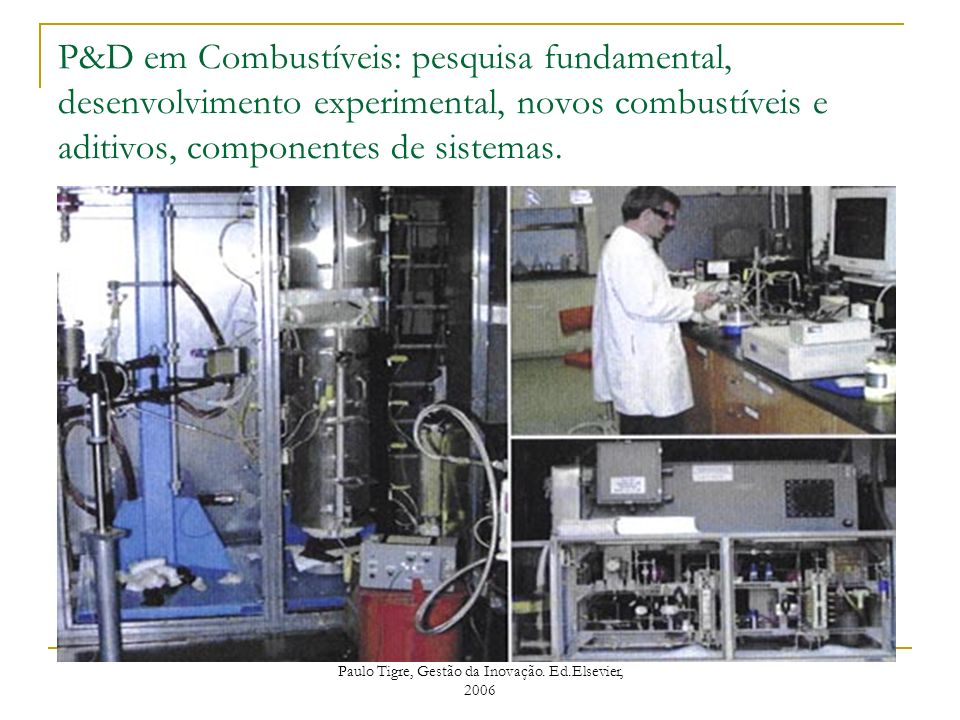 P&D em Combustíveis: pesquisa fundamental, desenvolvimento experimental, novos combustíveis e aditivos, componentes de sistemas. Paulo Tigre, Gestão d