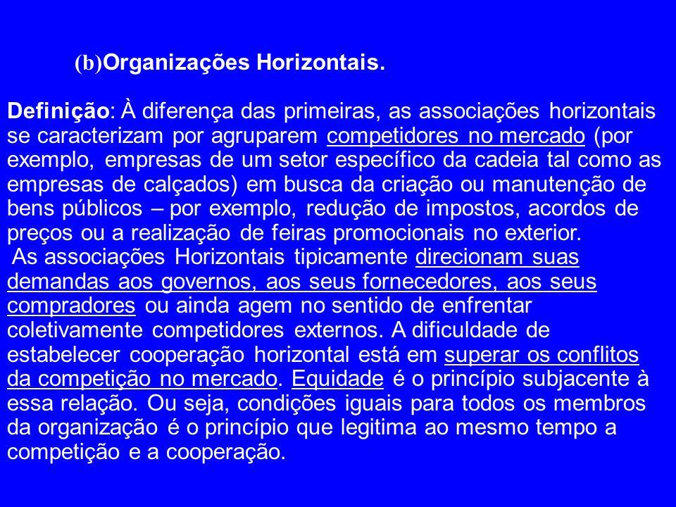 (b) Organizações Horizontais. Definição: À diferença das primeiras, as associações horizontais se caracterizam por agruparem competidores no mercado (