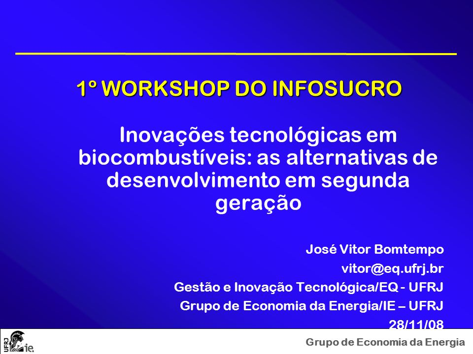 Grupo de Economia da Energia 1º WORKSHOP DO INFOSUCRO 1º WORKSHOP DO INFOSUCRO Inovações tecnológicas em biocombustíveis: as alternativas de desenvolv