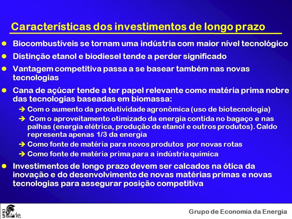 Grupo de Economia da Energia Características dos investimentos de longo prazo Biocombustíveis se tornam uma indústria com maior nível tecnológico Dist