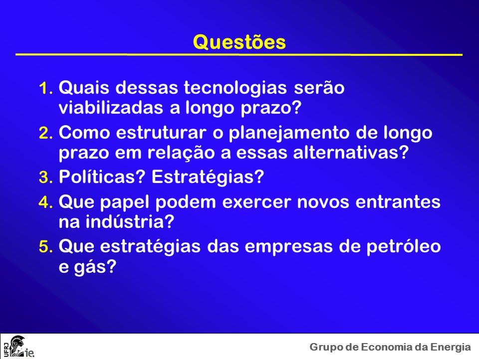 Grupo de Economia da Energia Questões 1. Quais dessas tecnologias serão viabilizadas a longo prazo? 2. Como estruturar o planejamento de longo prazo e