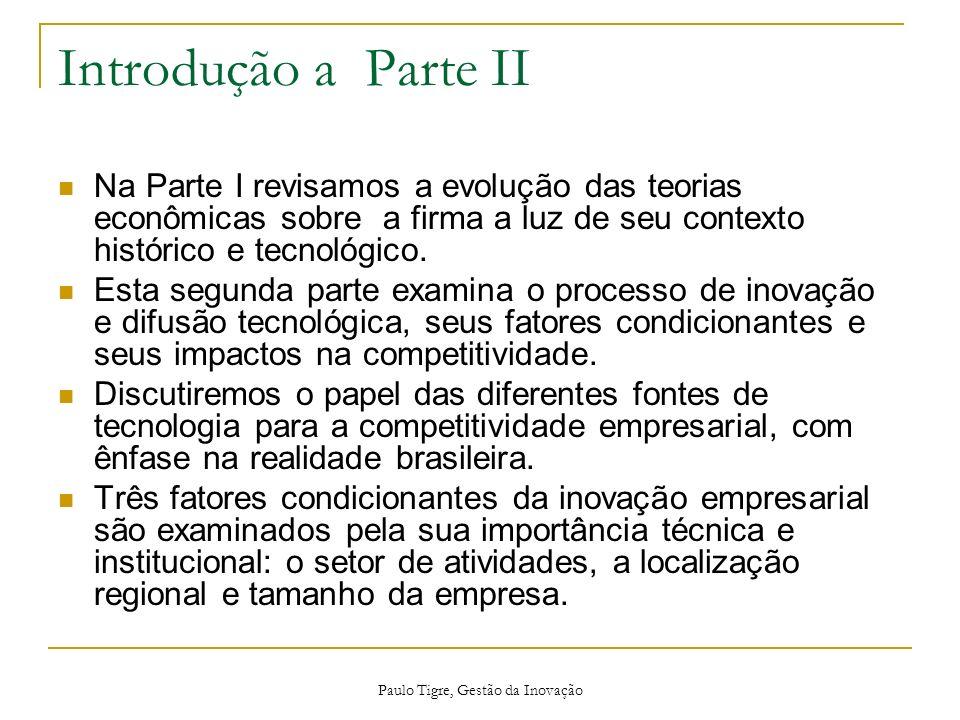 Paulo Tigre, Gestão da Inovação Introdução a Parte II Na Parte I revisamos a evolução das teorias econômicas sobre a firma a luz de seu contexto histó