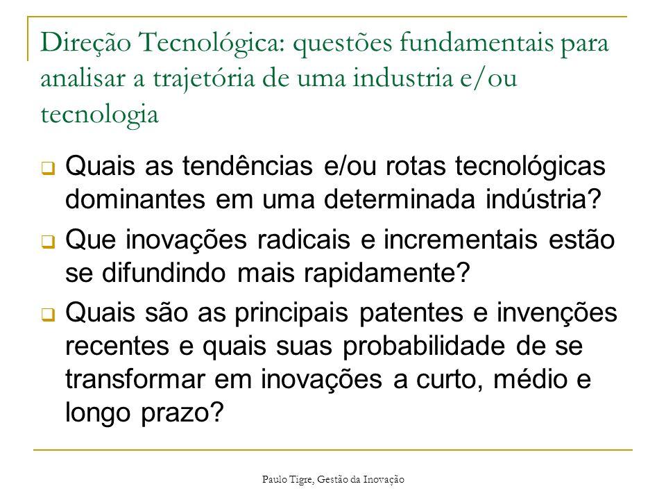 Paulo Tigre, Gestão da Inovação Direção Tecnológica: questões fundamentais para analisar a trajetória de uma industria e/ou tecnologia Quais as tendên