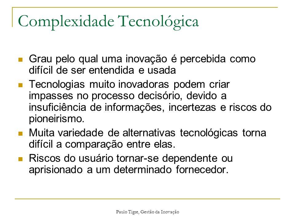 Paulo Tigre, Gestão da Inovação Complexidade Tecnológica Grau pelo qual uma inovação é percebida como difícil de ser entendida e usada Tecnologias mui
