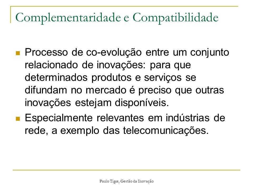 Paulo Tigre, Gestão da Inovação Complementaridade e Compatibilidade Processo de co-evolução entre um conjunto relacionado de inovações: para que deter