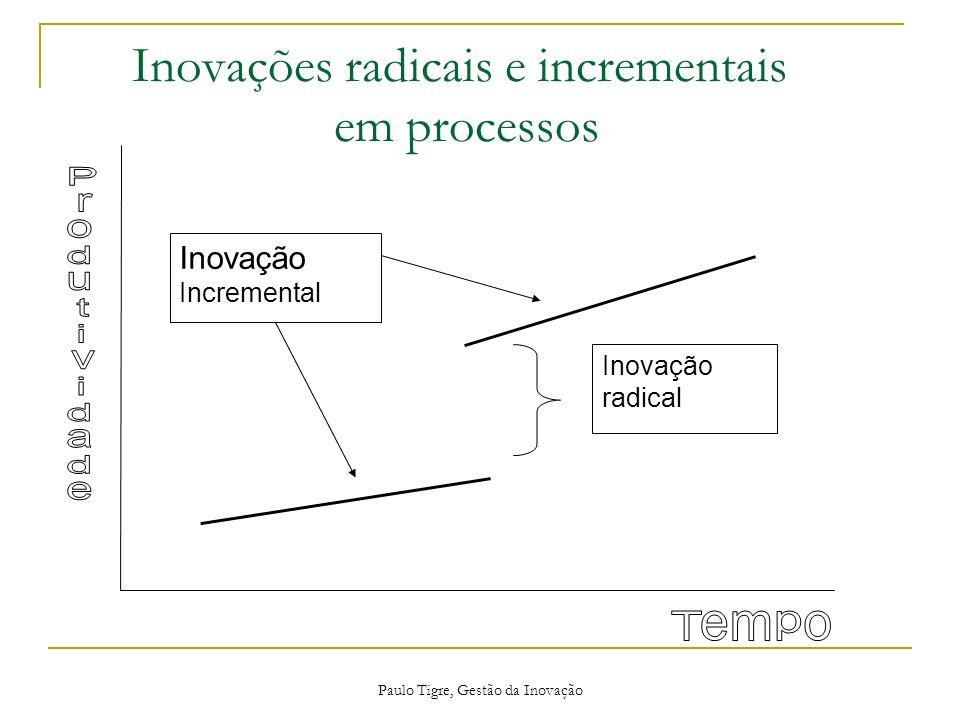 Paulo Tigre, Gestão da Inovação Inovações radicais e incrementais em processos Inovação radical Inovação Incremental