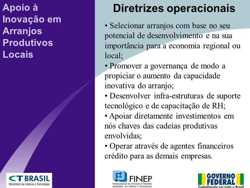 Selecionar arranjos com base no seu potencial de desenvolvimento e na sua importância para a economia regional ou local; Promover a governança de modo