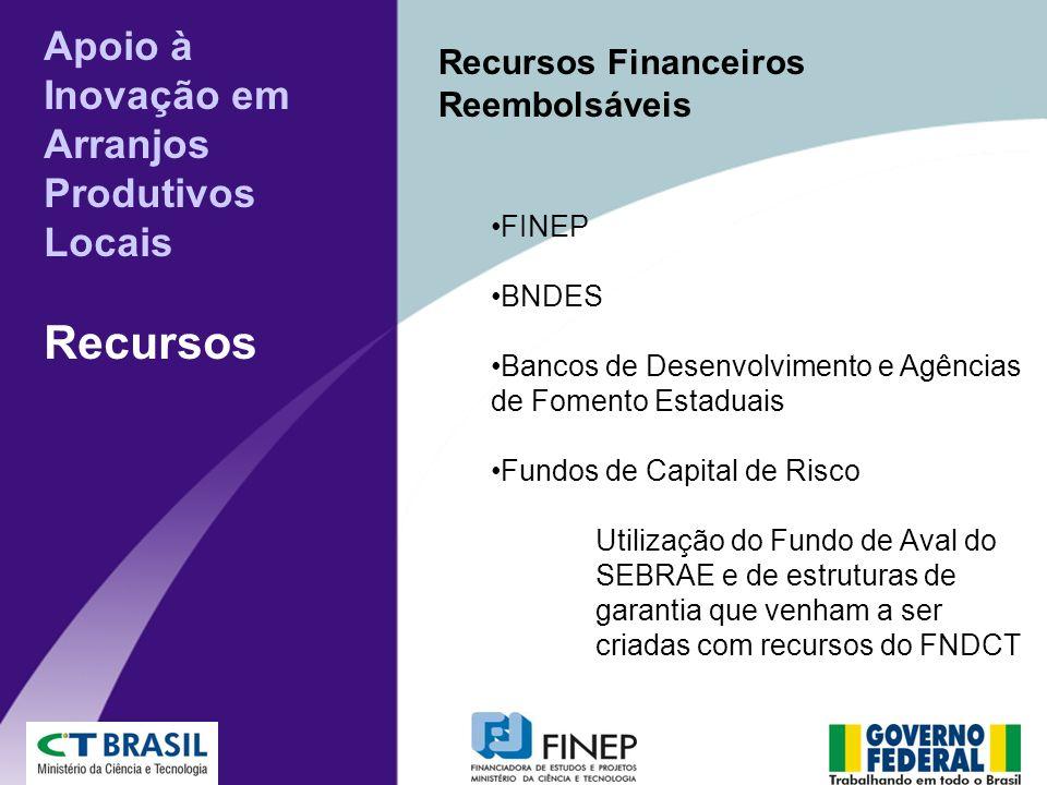 Recursos Financeiros Reembolsáveis FINEP BNDES Bancos de Desenvolvimento e Agências de Fomento Estaduais Fundos de Capital de Risco Utilização do Fundo de Aval do SEBRAE e de estruturas de garantia que venham a ser criadas com recursos do FNDCT Apoio à Inovação em Arranjos Produtivos Locais Recursos