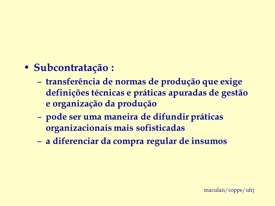 maculan/coppe/ufrj Subcontratação : – transferência de normas de produção que exige definições técnicas e práticas apuradas de gestão e organização da