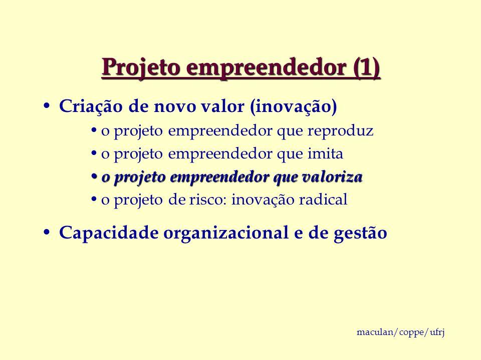 maculan/coppe/ufrj Projeto empreendedor (1) Criação de novo valor (inovação) o projeto empreendedor que reproduz o projeto empreendedor que imita o pr