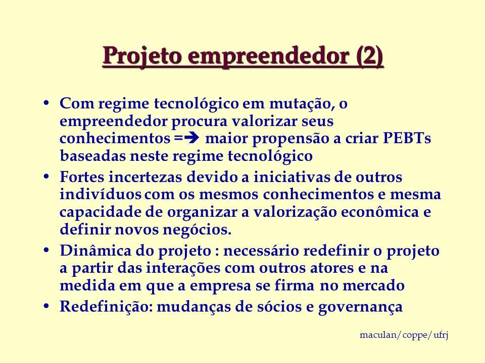 maculan/coppe/ufrj Projeto empreendedor (2) Com regime tecnológico em mutação, o empreendedor procura valorizar seus conhecimentos = maior propensão a