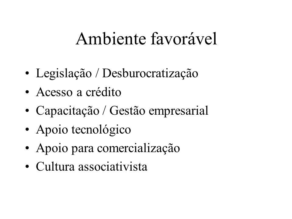 Ambiente favorável Legislação / Desburocratização Acesso a crédito Capacitação / Gestão empresarial Apoio tecnológico Apoio para comercialização Cultu
