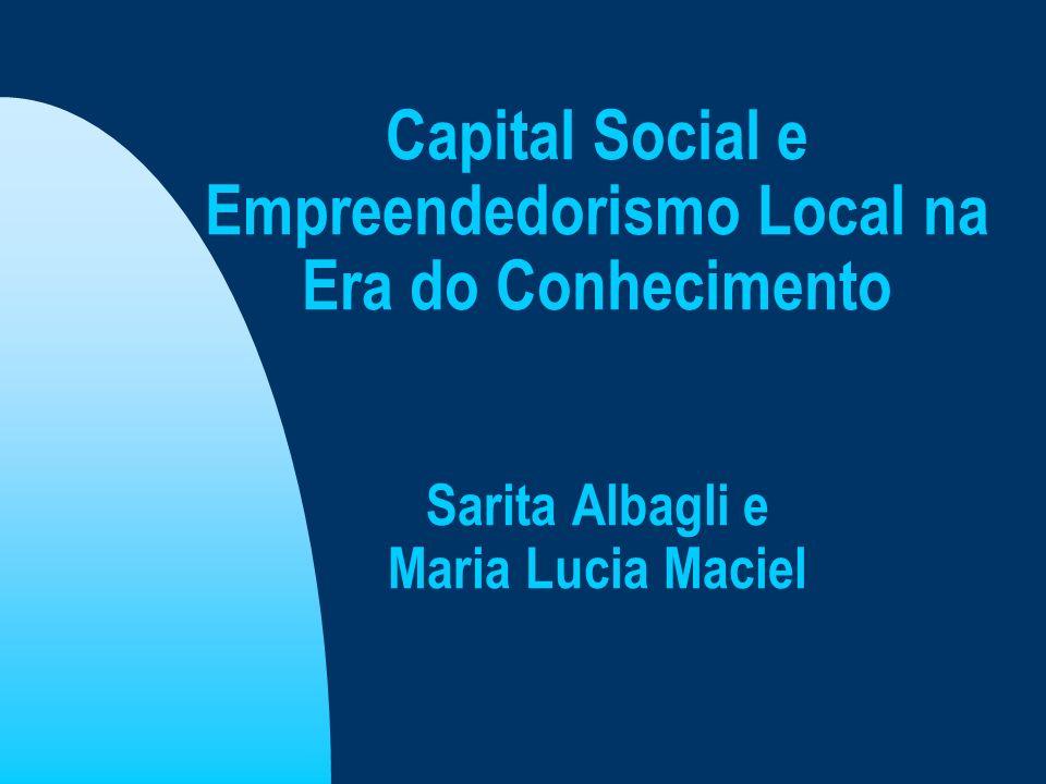 Capital Social e Empreendedorismo Local na Era do Conhecimento Sarita Albagli e Maria Lucia Maciel